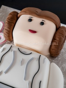 Close up detail of a Princess Leia 6th birthday party cake