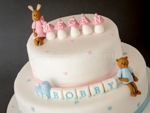 Darlington Christening cake ideas - teddy bear and rabbit